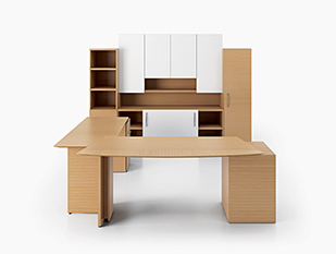 Light solid wood private office desk